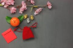 Sobre la vista de las decoraciones chinas y de los fondos lunares del concepto del Año Nuevo Foto de archivo libre de regalías