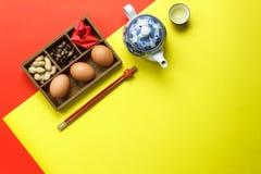 Sobre la vista de los accesorios lunares y del concepto chino del fondo del día de fiesta del Año Nuevo Fotografía de archivo libre de regalías