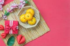 Sobre la vista del Año Nuevo lunar de los accesorios y del fondo chino de las vacaciones del Año Nuevo Foto de archivo libre de regalías