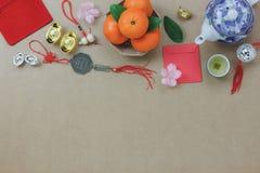 Sobre la vista del concepto festivo chino del fondo del Año Nuevo de las decoraciones superiores Imagen de archivo