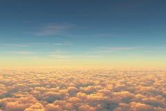 Sobre las nubes, visión desde el cabine experimental en aeroplano Visión aérea sobre las nubes durante la salida del sol o la pue imagen de archivo