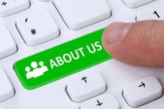 Sobre nós apresentação da empresa da informação da informação no Internet imagens de stock