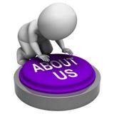 Sobre nosotros el botón muestra la sección de la introducción del sitio web stock de ilustración