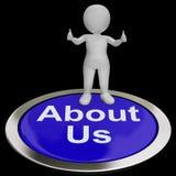 Sobre nosotros el botón significa la introducción o el contacto stock de ilustración