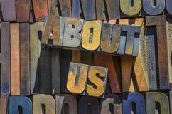 Sobre nós de madeira typeset Imagem de Stock Royalty Free