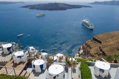 Sobre o caldera vulcânico Fira da vista, Santorini Greece Imagens de Stock