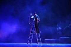 Sobre o drama da dança do parede-tango Imagens de Stock