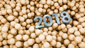 2018 sobre o fundo lustroso das bolas imagens de stock