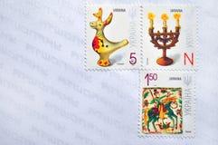 Sobre postal ucraniano con los sellos Imagenes de archivo