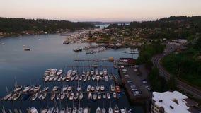 Sobre puerto deportivo del sonido de puget de la entrada de Washington del puerto del carruaje metrajes