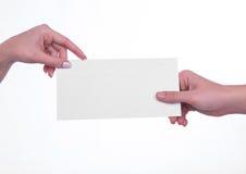 Sobre que transmite de la mano Foto de archivo