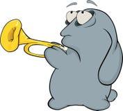 Sobre um coelho azul. Coelho o músico. Desenhos animados Imagem de Stock Royalty Free