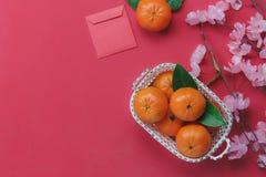 Sobre vista del fondo chino feliz del Año Nuevo de la decoración superior Fotografía de archivo