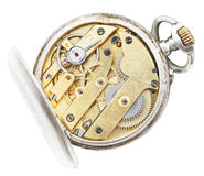 Sobre vista del reloj de bolsillo de cobre amarillo del vintage del movimiento Fotografía de archivo