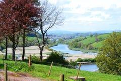 Sobre a vista do dardo do rio para Totnes Devon England Imagens de Stock Royalty Free