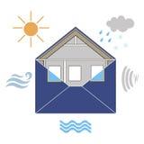 Sobre Weatherization de la construcción de viviendas alegórico con el viento, la lluvia, el sol, el ruido y el agua Imágenes de archivo libres de regalías