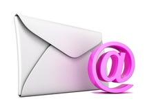 Sobre y símbolo del correo electrónico del rosa 3d rinden Foto de archivo libre de regalías