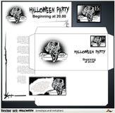 Sobre y una invitación a un partido que celebra Halloween Fotos de archivo
