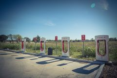 Sobrealimentador de Tesla en Flatonia, Tejas, los E.E.U.U. Foto de archivo