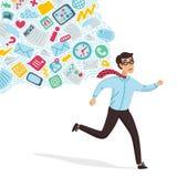 Sobrecarregamento da entrada Conceito da sobrecarga de informação Homem novo que corre longe do córrego da informação que leva a  ilustração do vetor