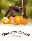 Sobremesa alaranjada do chocolate Embalagem para a sobremesa imagens de stock