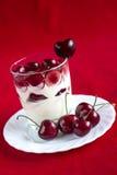 Sobremesa com cereja madura fotos de stock royalty free