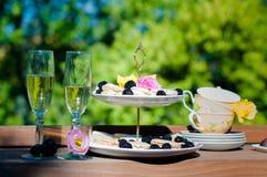 Sobremesa com champanhe Fotografia de Stock