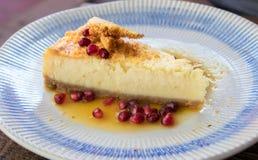 Sobremesa cremosa do bolo de queijo com fruto imagens de stock royalty free