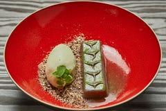 Sobremesa da barra de chocolate Fotografia de Stock