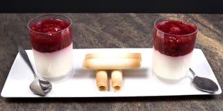 Sobremesa da framboesa e do iogurte Imagem de Stock