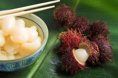 Sobremesa da fruta do Rambutan Foto de Stock Royalty Free