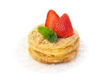 Sobremesa da morango isolada no branco Fotos de Stock Royalty Free