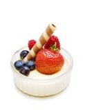 Sobremesa da morango no branco Fotografia de Stock Royalty Free