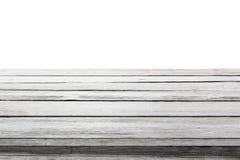Sobremesa de madera en el fondo blanco, tablones de madera del piso del escritorio Fotografía de archivo