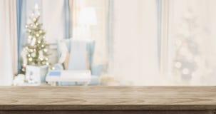 Sobremesa de madera vacía con la decoración caliente abstracta de la sala de estar con c Foto de archivo libre de regalías