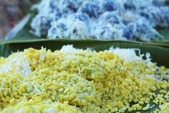 Sobremesa de Tailândia - banana, abóboras, milho, feijões de soja, descarga doce Foto de Stock Royalty Free