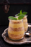 Sobremesa do biscoito e do creme do leite condensado Imagens de Stock