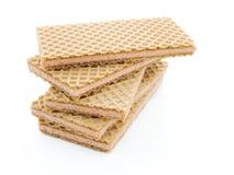 Sobremesa do bolo do Waffle isolada no fundo branco Imagem de Stock Royalty Free