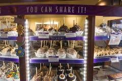 Sobremesa do chocolate em um armário de exposição Fotografia de Stock