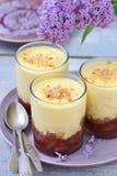 Sobremesa do ruibarbo com anglaise da nata Foto de Stock Royalty Free