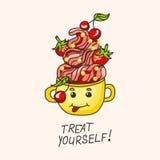 Sobremesa doce com morangos, cerejas e creme em uma caneca Desenho-estilo Imagem de Stock Royalty Free
