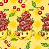 Sobremesa doce dos doces do cith do teste padrão Cereja, morango e creme Fotos de Stock
