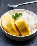 Sobremesa doce pegajosa do arroz da manga tailandesa Fotografia de Stock Royalty Free
