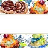 Sobremesa doce saboroso do bolo e do bolo Grupo da ilustra??o do fundo da aquarela Quadrado do ornamento da beira do quadro fotografia de stock royalty free