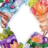 Sobremesa doce saboroso do cone de gelado Grupo da ilustra??o do fundo da aquarela Quadrado do ornamento da beira do quadro foto de stock royalty free