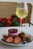 Sobremesa e champanhe da morango Fotos de Stock