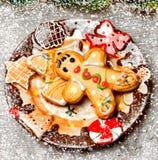 Sobremesa e decoração do Natal Imagem de Stock