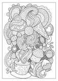 A sobremesa e o café doces esboçaram a ilustração para colorir Imagem de Stock Royalty Free