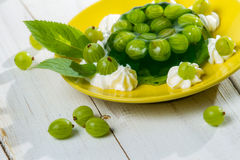 A sobremesa fêz o ââof jelly e os gooseberries Imagem de Stock Royalty Free