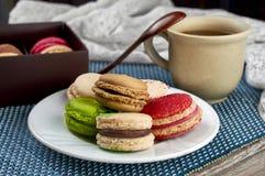 Sobremesa francesa colorida do macarrão com um copo do chá fotos de stock royalty free